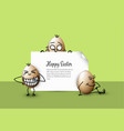 funny easter eggs - happy green easter card vector image vector image