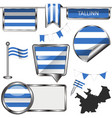 glossy icons with flag of tallinn estonia vector image vector image