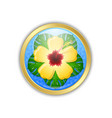 golden hawaiian badge in polynesian style vector image