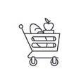 good food basket line icon concept good food vector image vector image