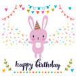 happy birthday greeting card cute postcard with vector image vector image