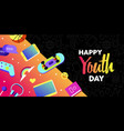 happy youth card fun teen internet leisure vector image vector image