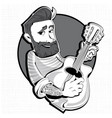 hipster with a guitar male character vector image