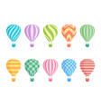 hot air balloon isolated colorful set vector image vector image
