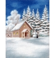 House and Snowman in Winter Forest vector image vector image