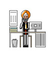 indian businessman talking on phone at office desk vector image vector image