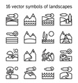 Landscape icons collection Nature symdols vector image vector image
