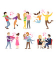 man holding woman by hands merrily jumping set vector image