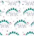 merry christmas seamless pattern and cute dinosaur vector image vector image
