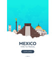 mexico time to travel travel poster flat vector image