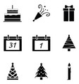 new year icon set vector image vector image