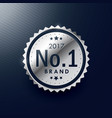 no1 brand silver badge and label design vector image vector image