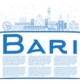 outline bari italy city skyline with blue vector image