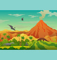 prehistoric landscape - volcano with smoke vector image vector image