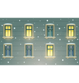 Retro Building Facade At Winter Night vector image