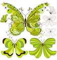 Set green vintage butterflies vector image