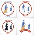 Set of four symbols for prevent a bite action vector image