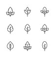 set simple leaf icons vector image vector image