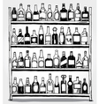 Shelf full of bottles hand drawn vector image vector image