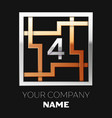 silver number four logo in silver-golden square vector image vector image