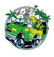 skeleton with jamb and blondie girl driving van vector image vector image
