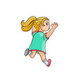 sketch running girl ranaway kid vector image vector image