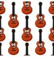 Smiling cartoon acoustic guitar seamless pattern vector image vector image