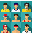 sport men icons in flat style with long shadow vector image