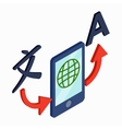 Translator smartphone icon isometric 3d style vector image