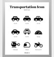 transportation icons solid pack vector image vector image