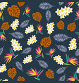 tropic seamless pattern with color leaves vector image vector image