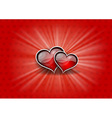 two hearts on the red background vector image vector image