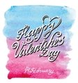 Valentines day lettering backgroundWatercolor vector image