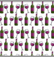 wine bottle and glass background icon vector image vector image