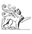 winged lion is shown on the tomb of loys de vector image vector image