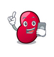 with phone jelly bean character cartoon vector image