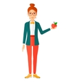 Woman holding apple vector image