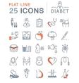 Set Flat Line Icons Diabet vector image