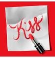 Lipstick and inscription Kiss vector image