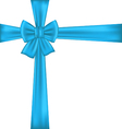 Blue bow for packing gift vector image
