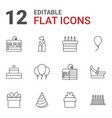 12 birthday icons vector image vector image
