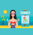 beautiful young woman on beach near sea summer vector image vector image