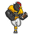 black rooster - american football mascot vector image vector image