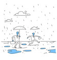 business man holding umbrella during rain finance vector image