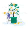 businesswoman stand on ladder lean to huge potted vector image vector image