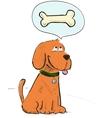 Cartoon dog dreaming about bone