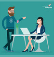 cartoon men and women communication in office vector image vector image