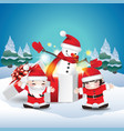 children happy with snowman in gift box vector image