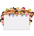 Crowd children with blank sign vector image