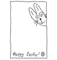 cute funny easter bunny with happy easter vector image
